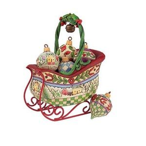 JIM SHORE HEARTWOOD CREEK SLEIGH WITH ORNAMENTS